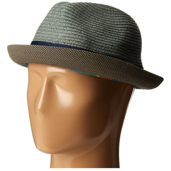 Goorin Brothers Agent Man (Gray) Caps ($46) ❤ liked on Polyvore featuring accessories, hats, grey hat, brim straw hat, crown hat, gray hat and print hats