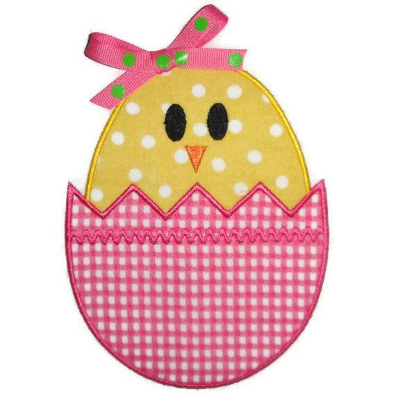 Easter Egg Chick Machine Embroidery Applique Design. $4.00, via Etsy.