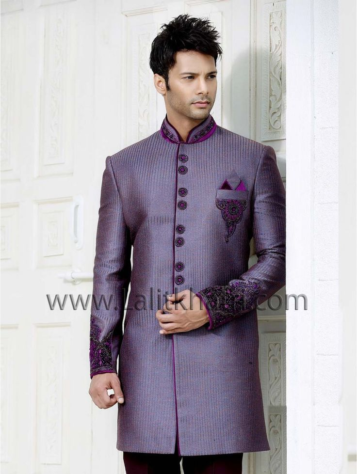 Glowing light purple color stitch work indo western is planed on silk with glossy zari, kundan, velvet applique work. item code : SIW2594 http://www.lalitkhatri.com/label/what-s-new/men.html