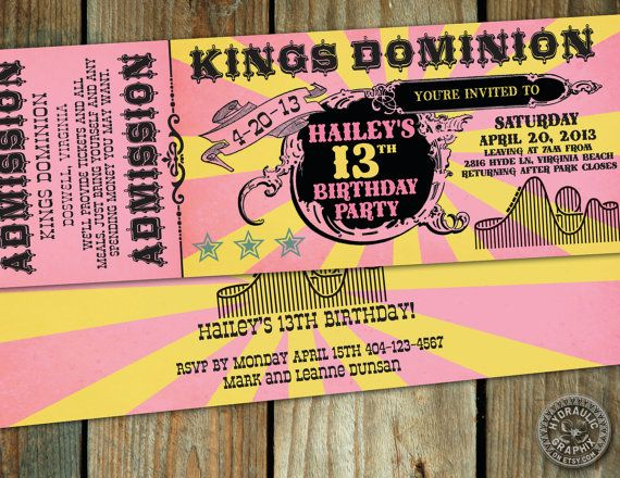 Roller Coaster Birthday Party Ticket by HydraulicGraphix on Etsy, $26.50