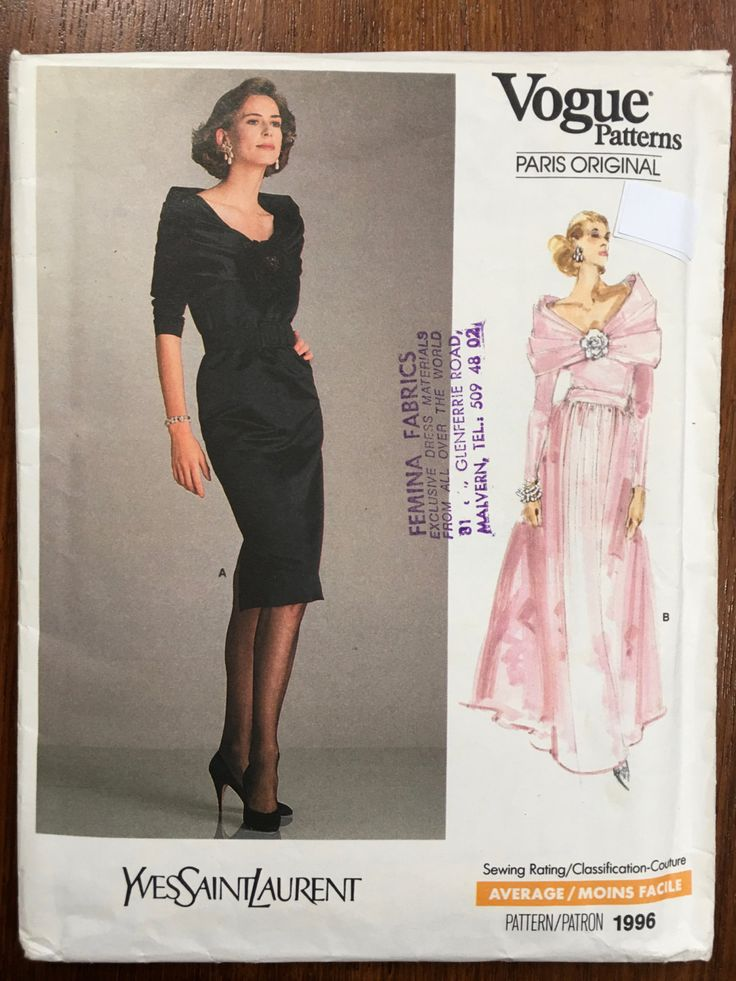 Vogue 1996 Evening Dress Pattern Yves St Laurent Size 14 Bust 36 UNCUT Beautiful elegant timeless wedding dress bridesmaid dress by weseatree on Etsy