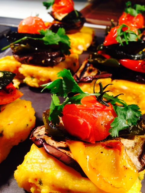 Feta, coriander & sun blushed tomato polenta with grilled vegetables & Scottish cherry tomatoes – so colourful, so delicious!