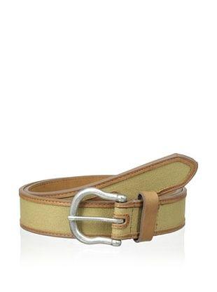 57% OFF Ike Behar Men's Leather & Cotton Belt (Khaki/Tan)