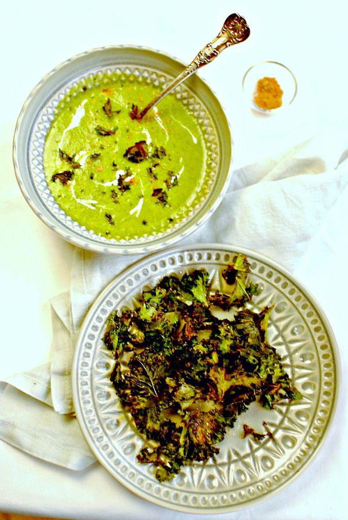 Burn's Night Creamy Kale Soup with 'Salt n Sauce' Kale Crisps
