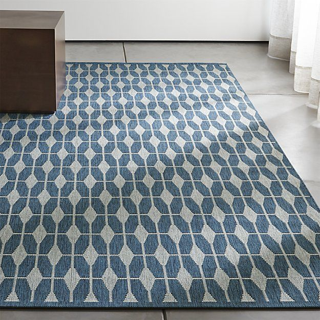 Shop Aldo Blue Indoor-Outdoor Rug.  Designer Chris Mestdagh's close attention to mid-century architectural details invests his designs with dynamic and playful patterns.