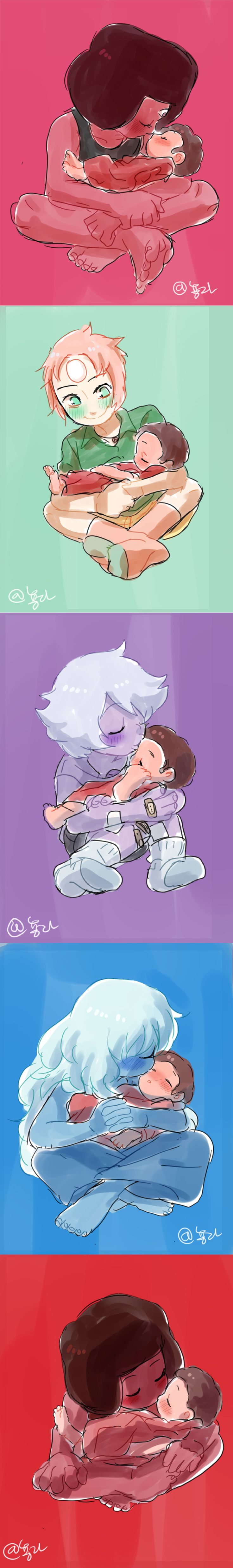 Baby Steven and The Crystal Gems. | its so fun to think that when Greg wasn't…