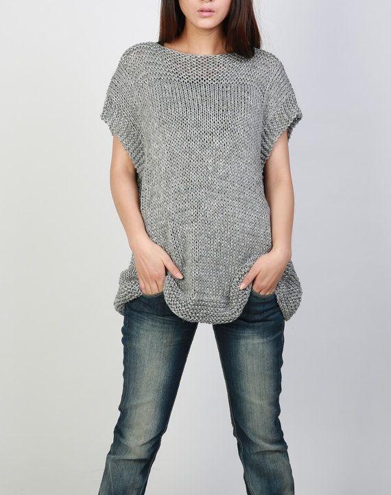Hand knit Tunic sweater grey eco cotton woman sweater vest