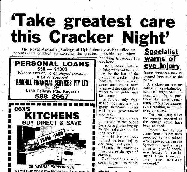 Fab Sydney Flashbacks 1986 NSW's last ever cracker night