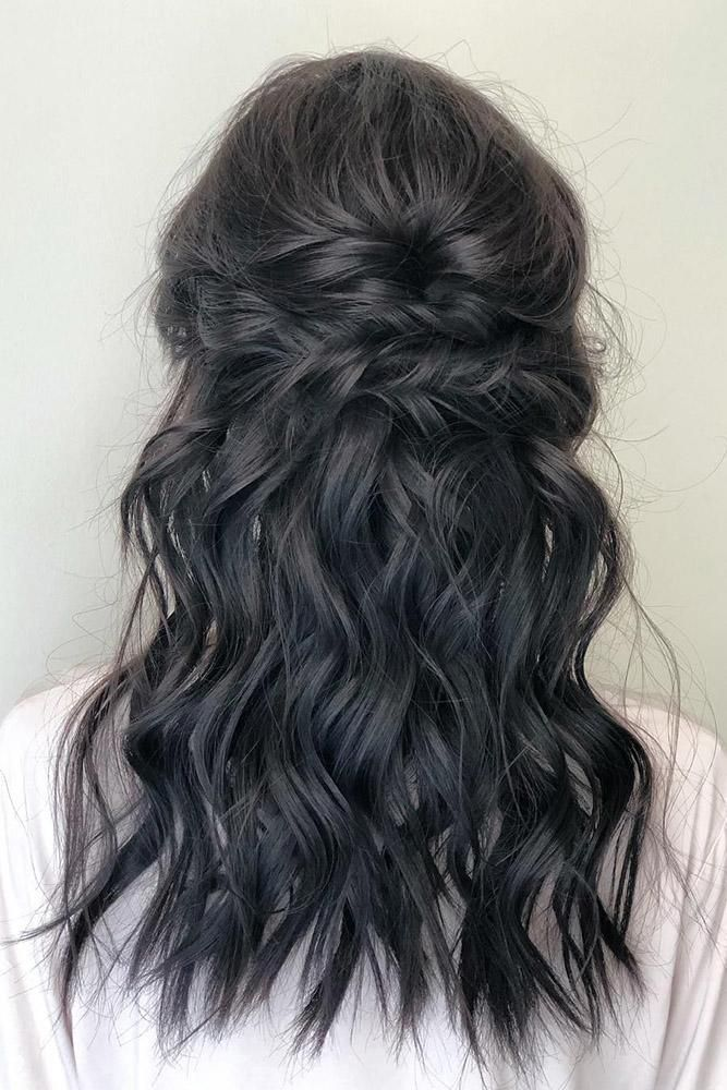 Bohemian wedding hairstyles medium black wavy half high half swept down christyyoo … – Hair