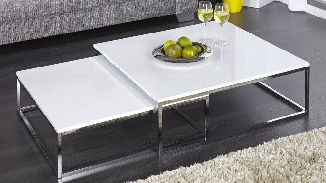 Grande Table De Salon Carree Gigogne Laquee Blanche Wim Gdegdesign Table Basse Design Table Basse Blanche Laque