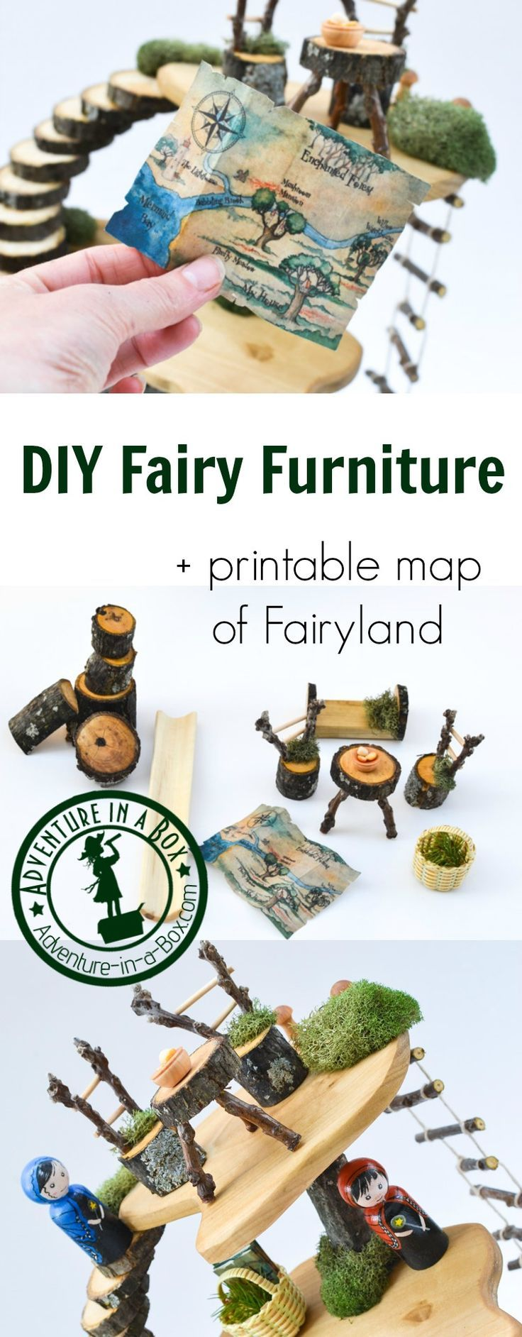 If you have a fairy house, make fairy dollhouse furniture! Built from natural materials and with simple tools, it's a fun project for older kids and adults. A printable map of Fairyland is included!