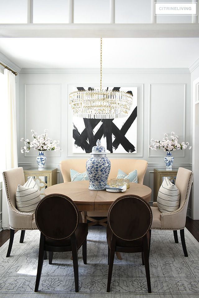 Spring Dining Room Decorating Citrineliving Dining Room Makeover Grey Dining Room Dining Room Decor