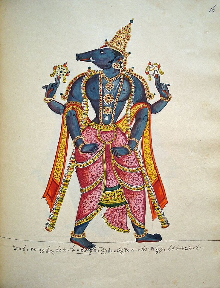 Opaque watercolour painting of Varāha, the boar (the third incarnation of Viṣṇu).  Varāha is shown as a powerful, dark-complexioned male figure with a boar's head and prominent tusks. He carries in his upper right hand the chakra (discus) and in his upper left the shankha (conch). He strides ahead while looking over his shoulder and his fists are clenched, ready to punch the enemy.