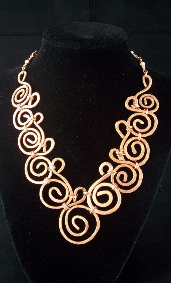 handmade wire jewelry designs hammered copper collar style necklcase design 4623