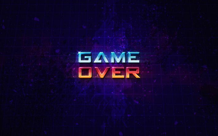 Download wallpapers 4k, Game Over, art, grid, violet background