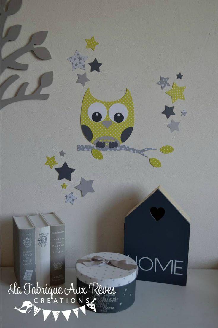 stickers décoration chambre enfant bébé hibou chouette étoiles vert anis gris foncé gris clair