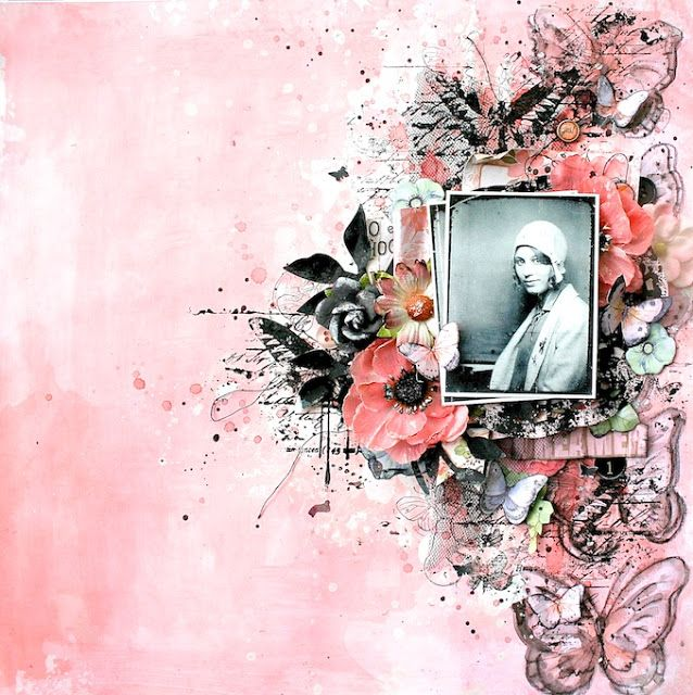 Scraps of Elegance scrapbook kits: Lisa Griffith created this gorgeous vintage pink mixed media layout with our with our July Sunshine & Sweet Tea kit. Subscribe to our kits and get a new box of mixed media scrapbooking fun in the mail each month! www.scrapsofdarkness.com