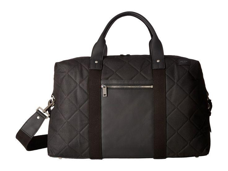 JACK SPADE JACK SPADE - QUILTED WAXWEAR TRAVEL DUFFEL (BLACK) DUFFEL BAGS. #jackspade #bags #shoulder bags #hand bags #lining #crossbody #cotton #