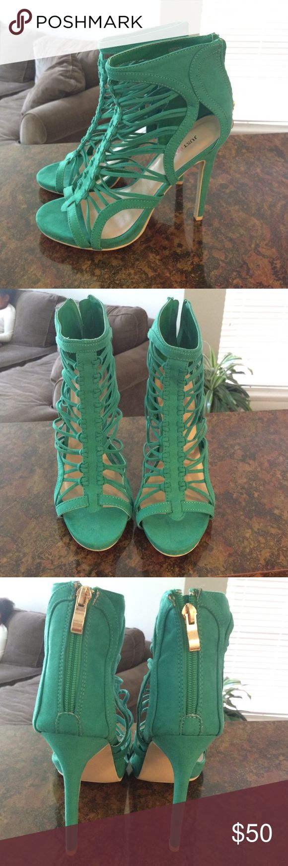 Just fab green strappy heels Suede. Brand new never worn. Not available on justfab anymore. JustFab Shoes Heels