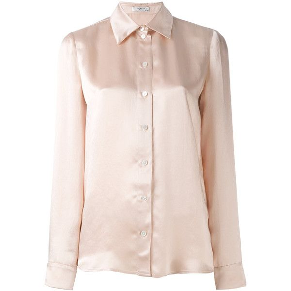 Lanvin silky shirt (23.825 RUB) ❤ liked on Polyvore featuring tops, nude, long sleeve shirts, pink top, lanvin top, pink shirts and pink long sleeve top