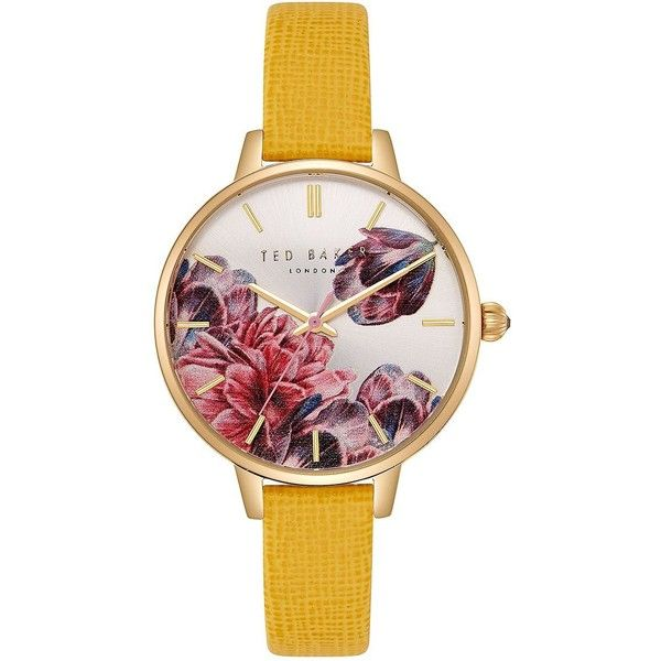Ted Baker London Women's Kate Three-Hand Slim Leather-Strap Watch (7,100 DOP) ❤ liked on Polyvore featuring jewelry, watches, yellow, analog watches, leather wrist watch, leather watches, ted baker jewelry and round watches