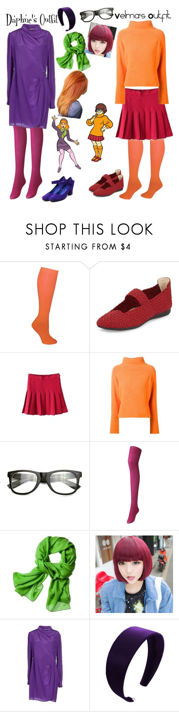 """Daphne's and Velma's Outfits"" by booknerd03 ❤ liked on Polyvore featuring Ozone, Taryn Rose, The Elder Statesman, INDIE HAIR, Uniqlo, Reed Krakoff, GABALMANIA, Miu Miu and Django & Juliette"