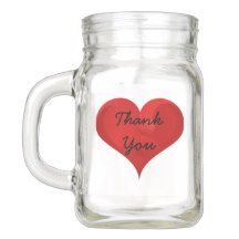 Thank You Red Heart Love Mason Jar