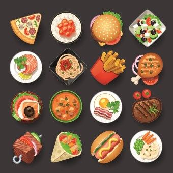 Vivid food icon design vector 05