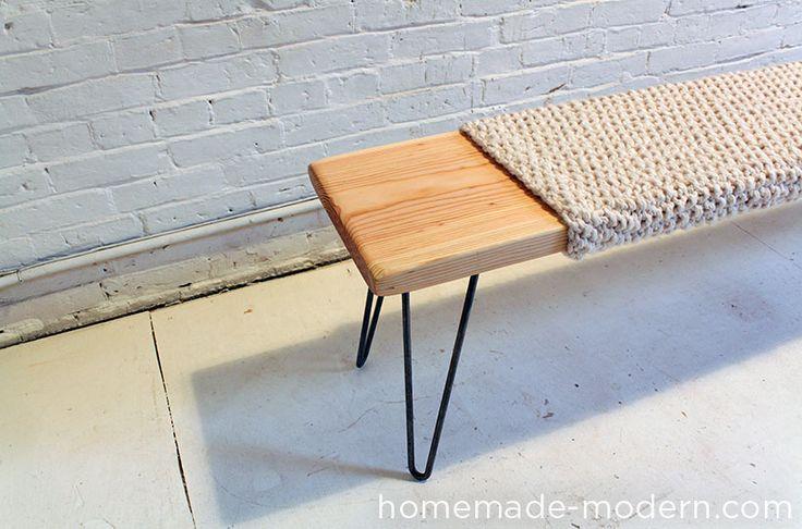 HomeMade Modern DIY Wood and Wool Bench Options