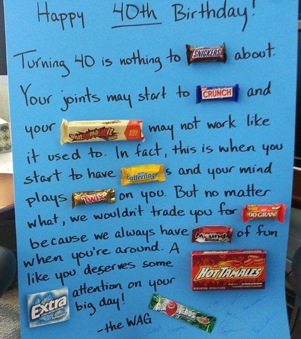 Candy Bar Birthday Poster, http://hative.com/candy-bar-poster-ideas-with-clever-sayings/