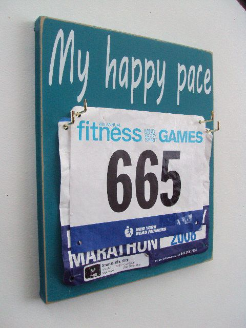 Running bibs holder My happy pace by runningonthewall on Etsy, $28.00