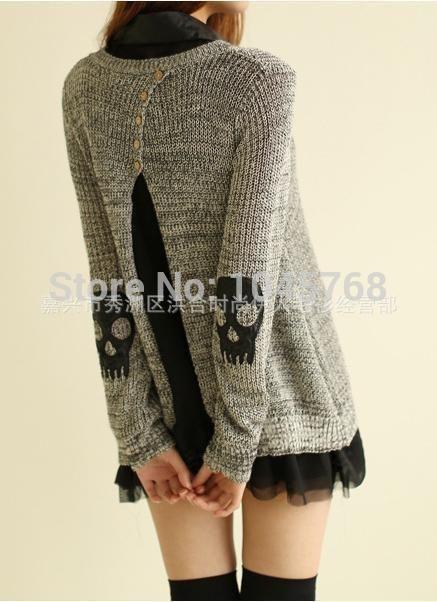 H и Q2014 зима новый женская мода Twinset с длинным рукавом черепа шаблон с пуговицами на спине пуловеры свитера с 03 012, принадлежащий категории Пуловеры и относящийся к Одежда и аксессуары для женщин на сайте AliExpress.com | Alibaba Group