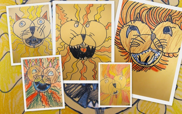 The Art Room: Kindergarten Lions - cool artwork. Dylan would especially enjoy doing this.
