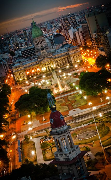 "View of Congreso from the Palacio Barolo building, inspired by Dante Alighieri's ""Divine Comedy"" - Buenos Aires, Argentina"