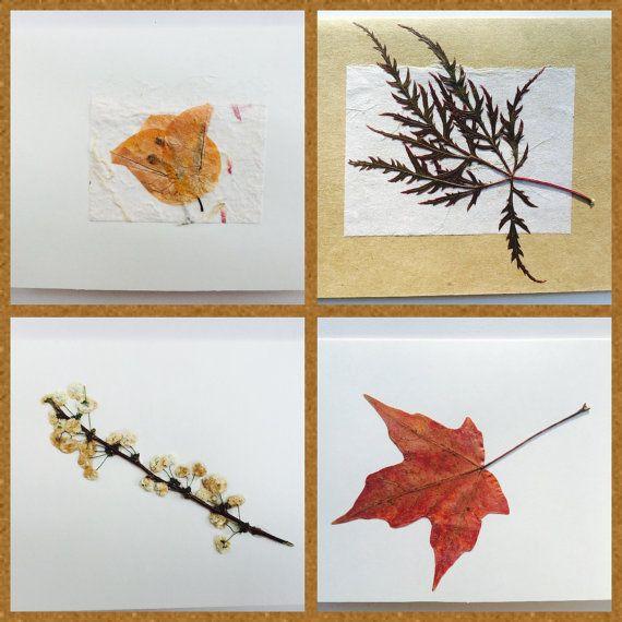 Blank Pressed Flower Leaves Card Set 2 or 4 by MaryRuthForYou