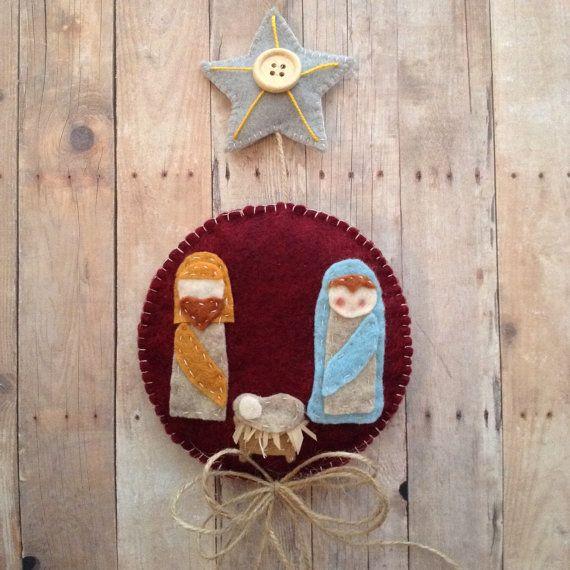 Nativity Felt Ornament / Christmas  Nativity Ornament / Nativity Scene Ornament / Handmade and Design in Felt Material