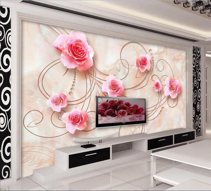 3d обои на заказ росписи нетканого 3d зал обои Европейский мрамор роза 3d настройки ТВ настенная живопись 3d стены настенные обои