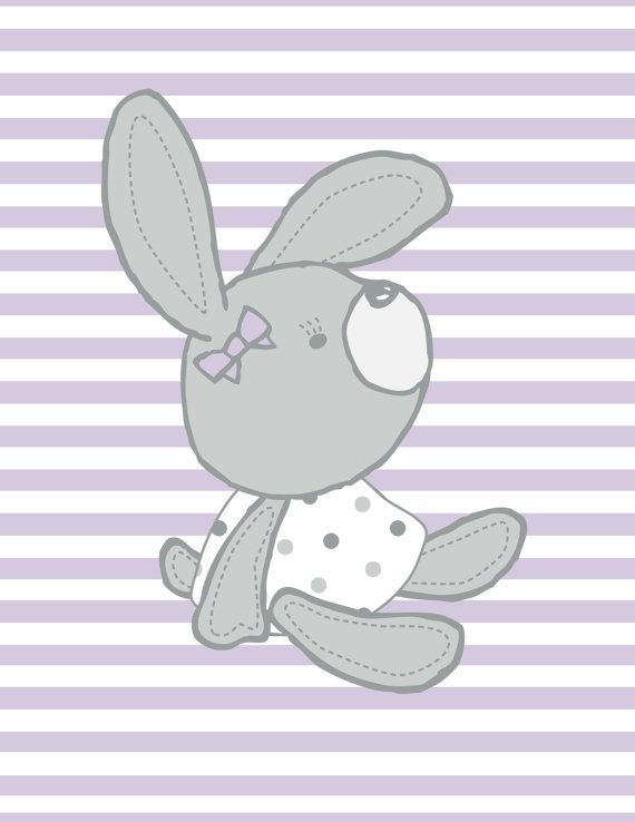 Lilac Purple Woodland Bunny Striped Wall by LovingkindnessGifts
