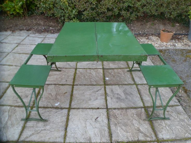 Vintage Folding Picnic Table Made In The U S A By Flexion Products Ltd Folding Picnic Table Camping Picnic Table Vintage Picnic Table