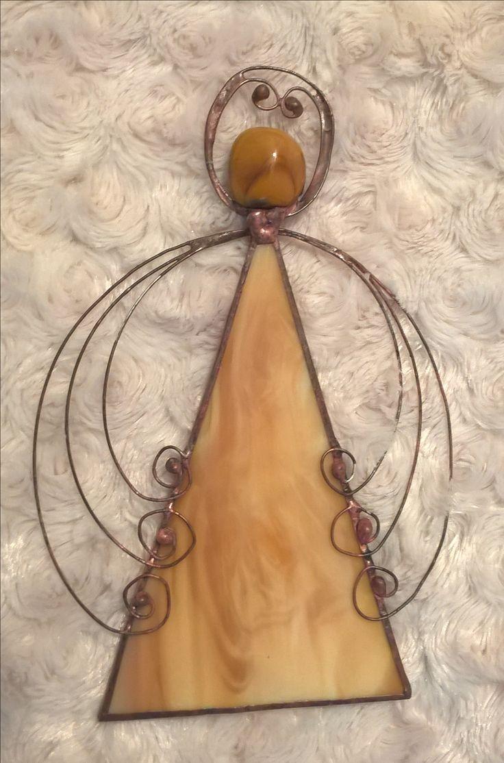 Stained glass angel with wired wings Tiffany anděl s drátovanými křídly