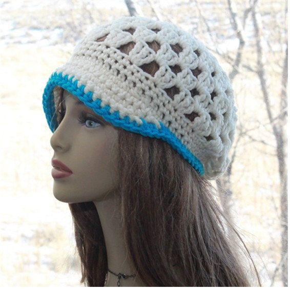Womens Newsboy Hat Brim Beanie Hand Crochet Teens Hipster Hat, All Season Beanie – Hats