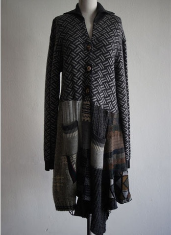 Recycled Sweater Coat - it would be great to sew this using the SLEEVES from men's flannel shirts as the bottom part - double cut the upper back and upper front -- two different fabrics and you'd have a reversible coat. Super funky.