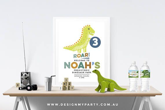 Dinosaur Welcome Party Poster Personalised DIY Printables