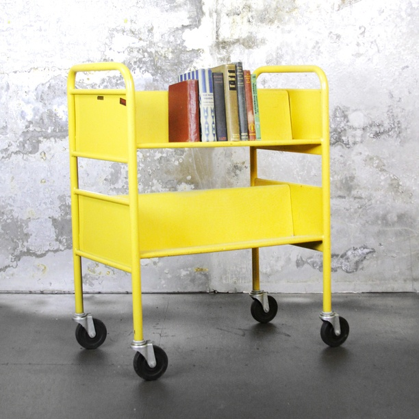 Library Book Cart Yellow yellow, vintage, lackluster co.