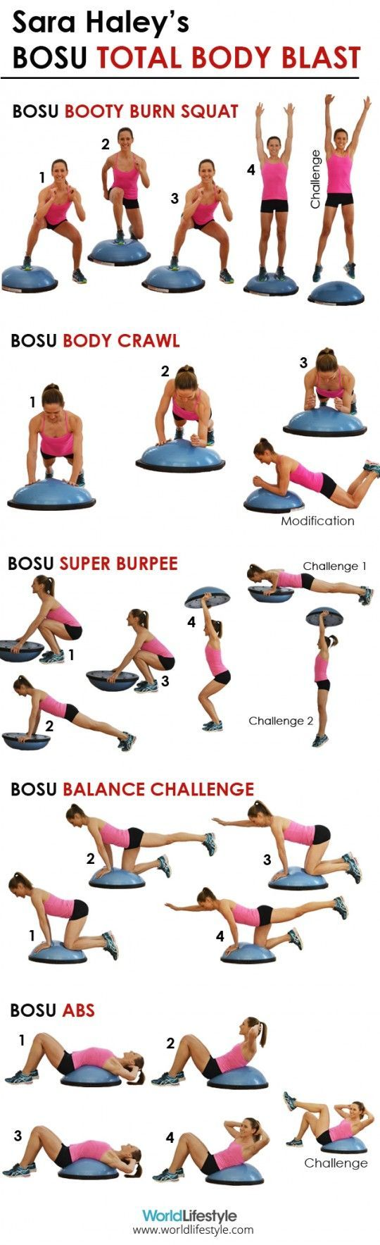 Awesome BOSU Ball workout for strengthening the core and growing some booty. Good for an added challenge when working out