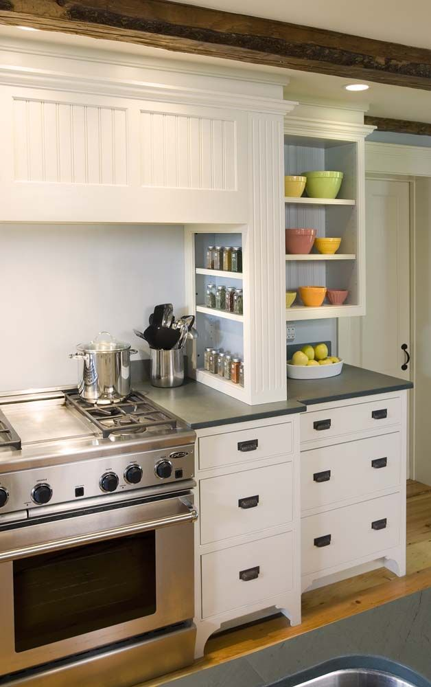 Spice rack kitchen pinterest stove smooth face and for Early american kitchen cabinets
