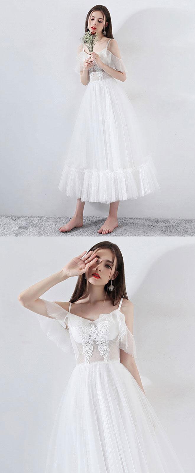 White tea length tulle prom dress white evening dress evening