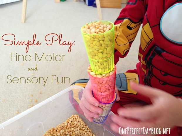 Play doesn't need to be complicated. The simplest activities are often the most engaging. Love this idea for fine motor skills, sensory play and lots of learning opportunities as well!