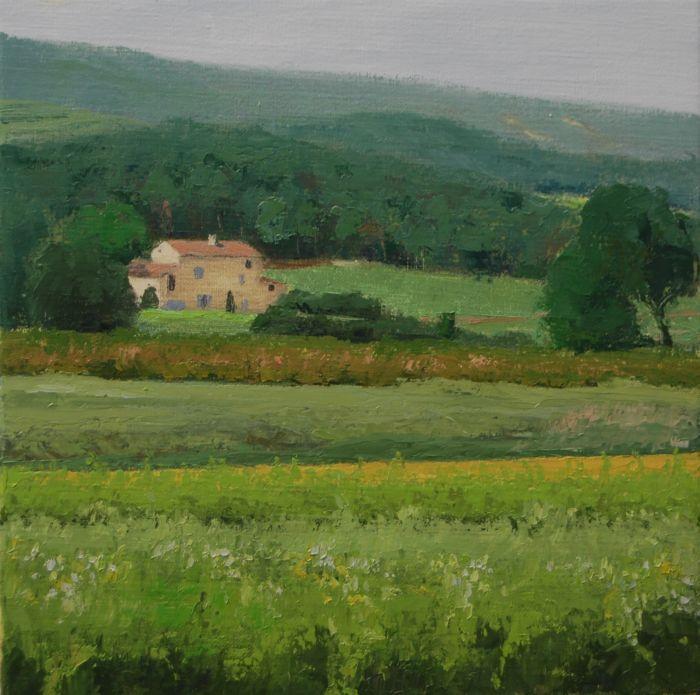 Farm near Villedieu (France) 40 x 40 by Gineke Zikken
