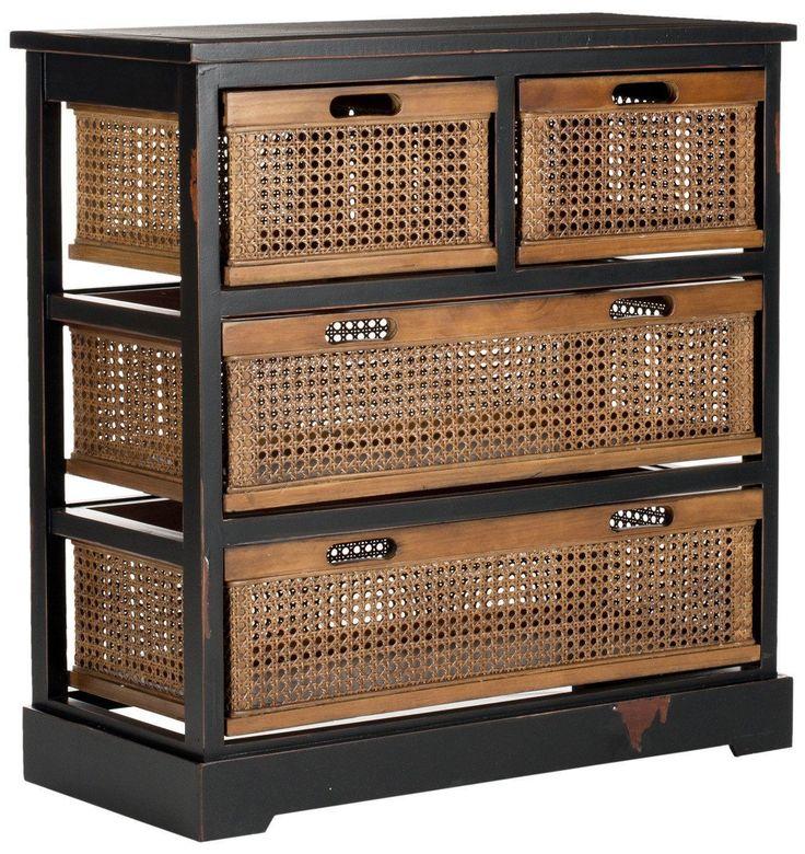 Jackson 4 Drawer Storage Unit Antique Black/Cane Drawers